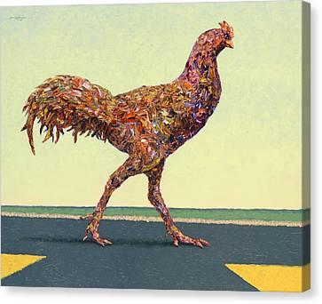 Head-on Chicken Canvas Print by James W Johnson