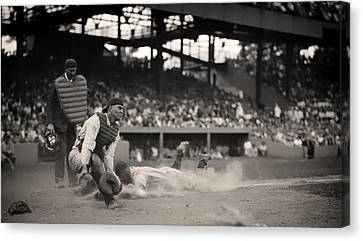 Headfirst Slide By Lou Gehrig Canvas Print by Mountain Dreams