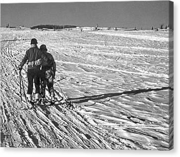 Heading Home After Skiing Canvas Print by Underwood Archives