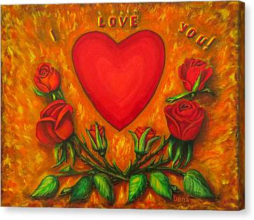 Heart And Roses Of Love Canvas Print by Zina Stromberg