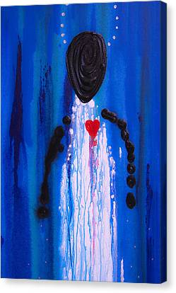 Heart And Soul - Angel Art Blue Painting Canvas Print by Sharon Cummings