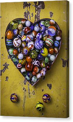 Heart Box Full Of Marbles Canvas Print by Garry Gay