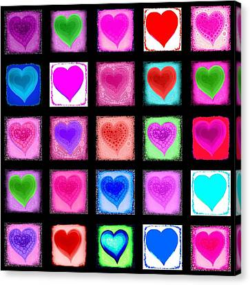 Heart Collage Canvas Print by Cindy Edwards