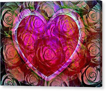 Heart Felt Roses Canvas Print by Shirley Sirois