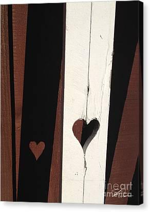 Heart Fence Shadow  Canvas Print by Shari Warren