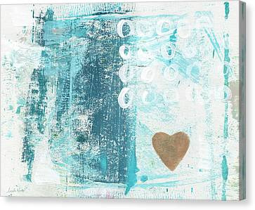Heart In The Sand- Abstract Art Canvas Print by Linda Woods