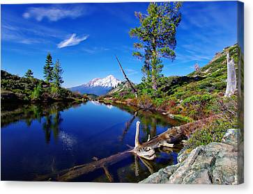 Heart Lake And Mt Shasta Reflection Canvas Print by Scott McGuire