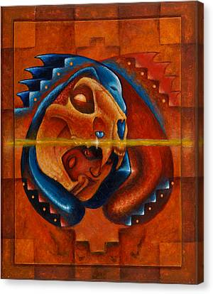 Heart Of The Jaguar Priest Canvas Print by Kevin Chasing Wolf Hutchins