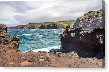 Heart Shaped Hole At Nakalele Canvas Print by Pierre Leclerc Photography