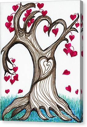 Heartful Tree 4 You Canvas Print by Minnie Lippiatt
