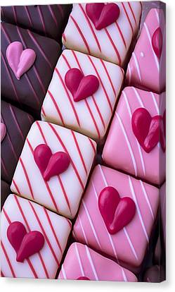 Hearts On Candy Canvas Print by Garry Gay