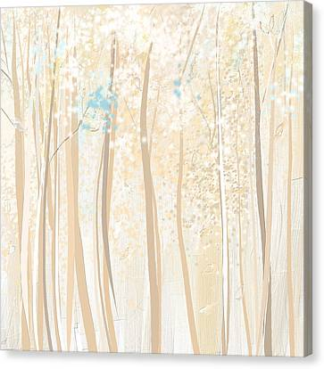 Heavenly Woods- Teal And White Art Canvas Print by Lourry Legarde