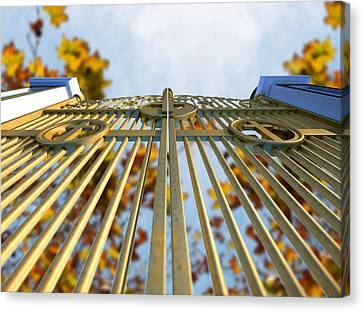 Heavens Golden Gates And Autumn Leaves Canvas Print by Allan Swart