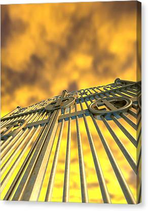 Heavens Golden Gates And Yellow Sky Canvas Print by Allan Swart