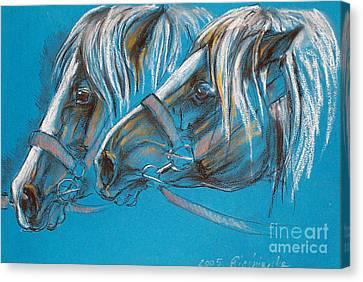 Heavy Horses Canvas Print by Angel  Tarantella