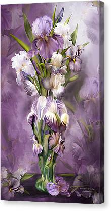 Heirloom Iris In Iris Vase Canvas Print by Carol Cavalaris