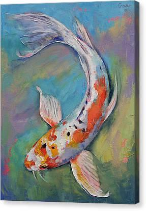 Heisei Nishiki Koi Canvas Print by Michael Creese