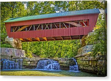 Helmick Mill Or Island Run Covered Bridge  Canvas Print by Jack R Perry