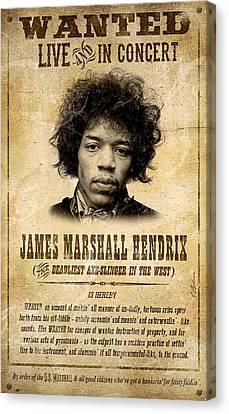 Hendrix Wanted Poster Canvas Print by Gary Bodnar
