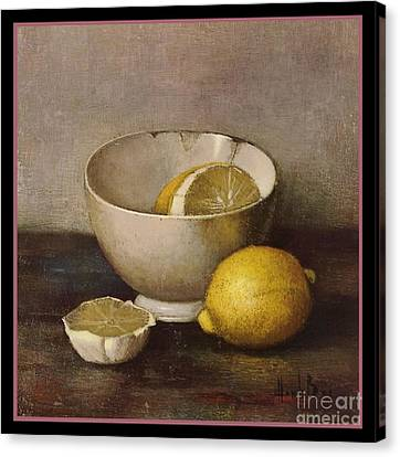Henk Bos Fruits Still Life Lemons With White Bowl Canvas Print by Pierpont Bay Archives