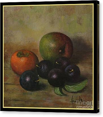 Henk Bos Fruits Still Life Plums  Canvas Print by Pierpont Bay Archives