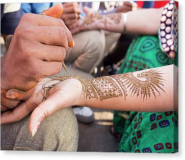 Henna Being Applied On Woman's Hand Canvas Print by David H. Wells