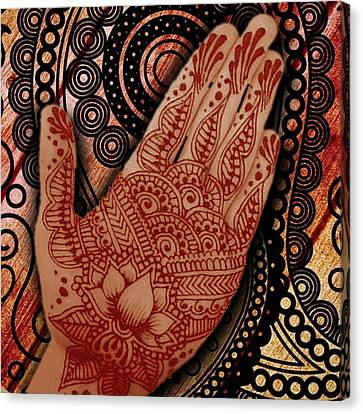 Henna Indian Beauty 2 Canvas Print by Tony Rubino