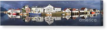 Henningsvaer Panoramic View Canvas Print by Heiko Koehrer-Wagner