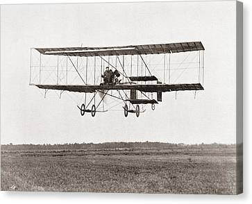 Henri Farman Winning The Grand Prix Of Two Thousand Pounds For The Longest Flight Of 112 Miles Canvas Print by Bridgeman Images