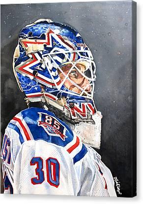 Henrik Lundqvist - New York Rangers Canvas Print by Michael  Pattison