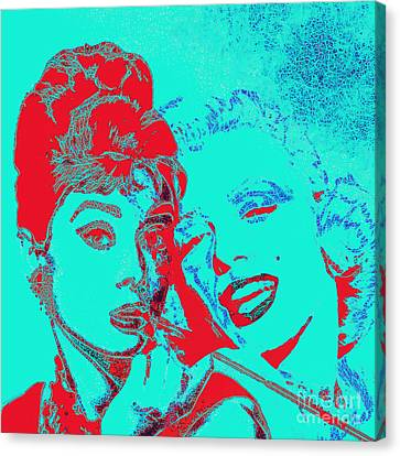 Hepburn And Monroe 20130331v2p128 Square Canvas Print by Wingsdomain Art and Photography