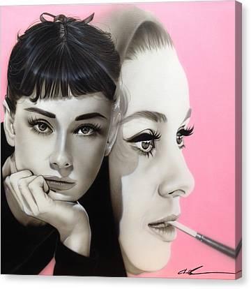 Audrey Hepburn - 'hepburn' Canvas Print by Christian Chapman Art