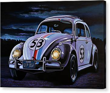 Herbie The Love Bug Painting Canvas Print by Paul Meijering