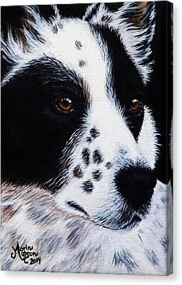 Herding Dog Canvas Print by Monique Morin Matson