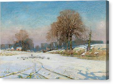 Herding Sheep In Wintertime Canvas Print by Frank Hind