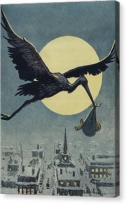 Here Comes The Stork Circa Circa 1913 Canvas Print by Aged Pixel