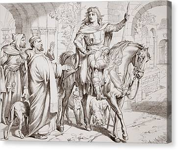 Hereward Informs His Uncle The Prior That He Is About To Be Outlawed Canvas Print by Henry Courtney Selous