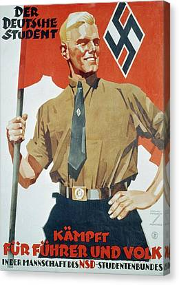 Heroic Portrait Of Hitler Youth Canvas Print by Everett