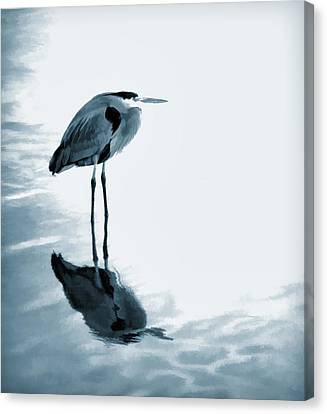 Heron In The Shallows Canvas Print by Carol Leigh