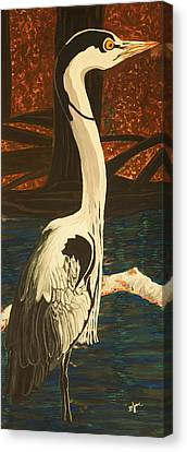 Heron In The Smokies Canvas Print by BJ Hilton Hitchcock