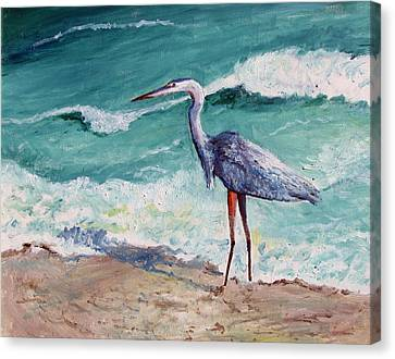 Heron In The Surf Canvas Print by Philip Lee