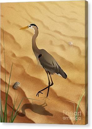 Heron On Golden Sands Canvas Print by Bedros Awak