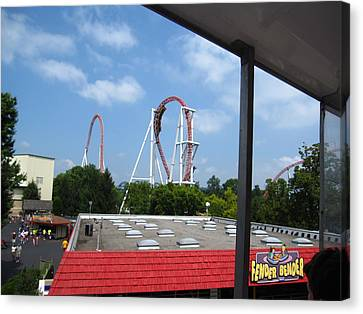 Hershey Park - Great Bear Roller Coaster - 12122 Canvas Print by DC Photographer