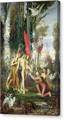 Hesiod And The Muses Canvas Print by Gustave Moreau