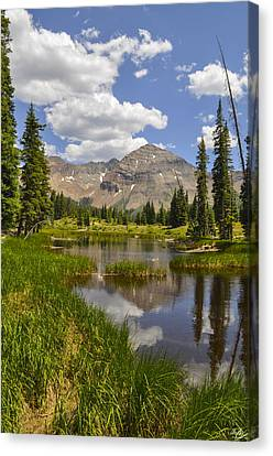 Hesperus Mountain Reflection Canvas Print by Aaron Spong