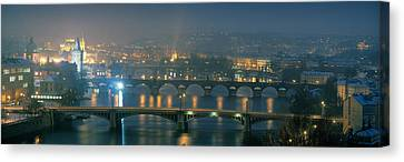 High Angle View Of A Bridge At Dusk Canvas Print by Panoramic Images