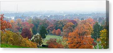 High Angle View Of A Cemetery Canvas Print by Panoramic Images