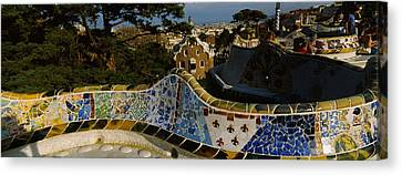 High Angle View Of A City, Parc Guell Canvas Print by Panoramic Images