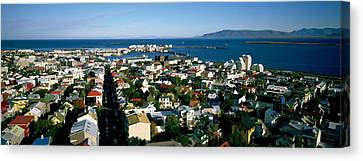 High Angle View Of A City, Reykjavik Canvas Print by Panoramic Images