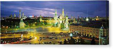 High Angle View Of A Town Square, Red Canvas Print by Panoramic Images